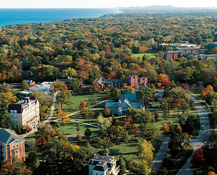 aerial view of Middle Campus with Lake Michigan on horizon